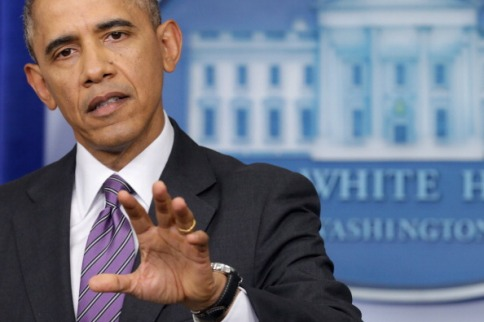 WASHINGTON, DC - APRIL 17: U.S. President Barack Obama delivers remarks about Obamacare and the ongoing tensions in Ukraine in the Brady Press Briefing Room at the White House April 17, 2014 in Washington, DC. Secretary of State John Kerry and his counterparts from Russia, Ukraine and the EU issued a joint statement today on the crisis in Ukraine calling for all illegal armed groups to be disarmed, all illegally seized buildings to be returned to their owners, and for all occupied public spaces to be vacated. (Photo by Chip Somodevilla/Getty Images)